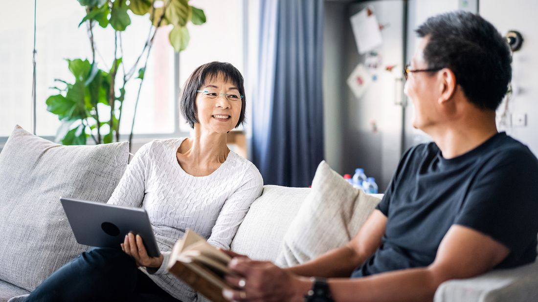 Retired couple discussing how to generate income in retirement