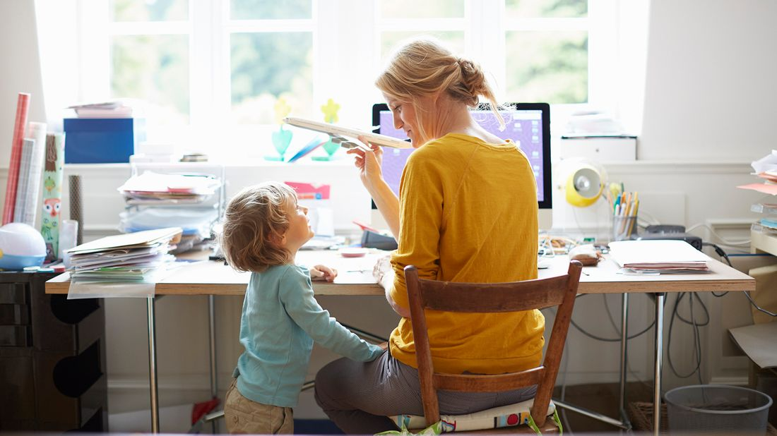Mom working from home trying to create structure for her kid.