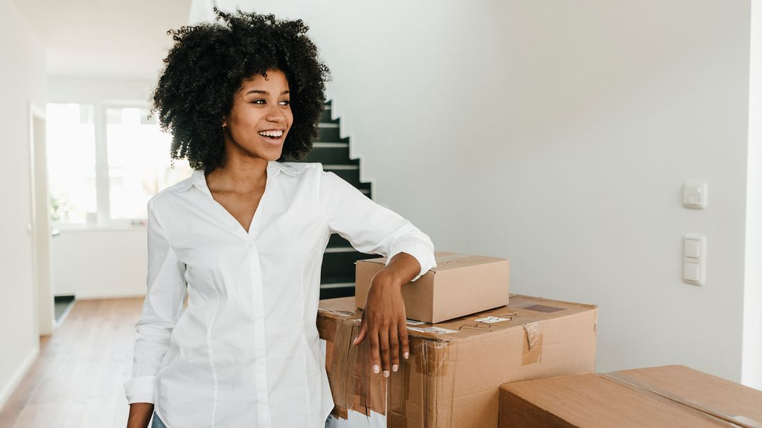 single woman moving into her first home