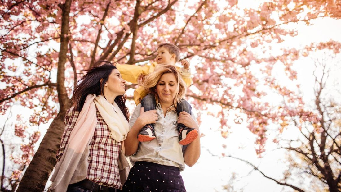 lesbian couple with adopted child piggybacking under cherry tree