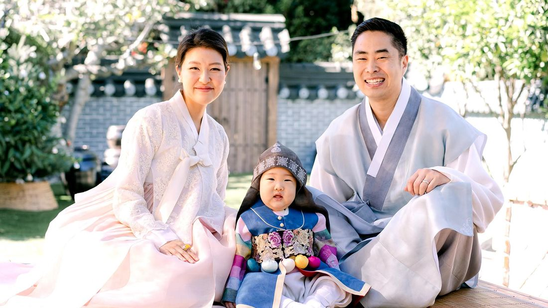 Rich Woo and family celebrating son's first birthday