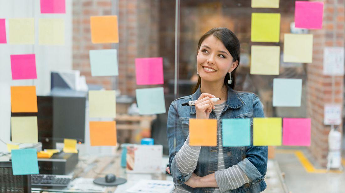 college graduate brainstorming her job search