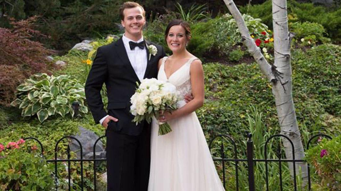 Wedding photo of a couple who merged finances