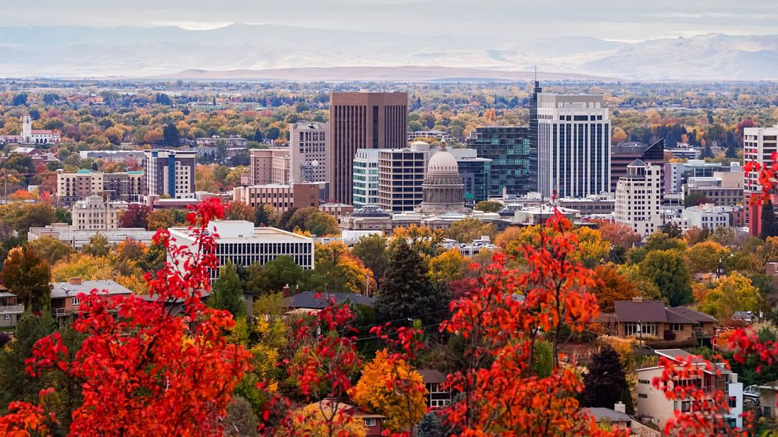 Skyline of Boise Idaho as the state's wages are rising the fastest