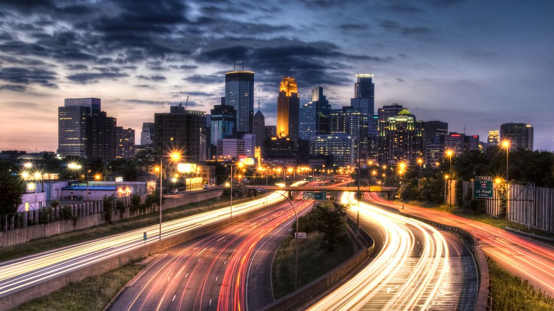 Long-exposure photography shot of a city at nighttime