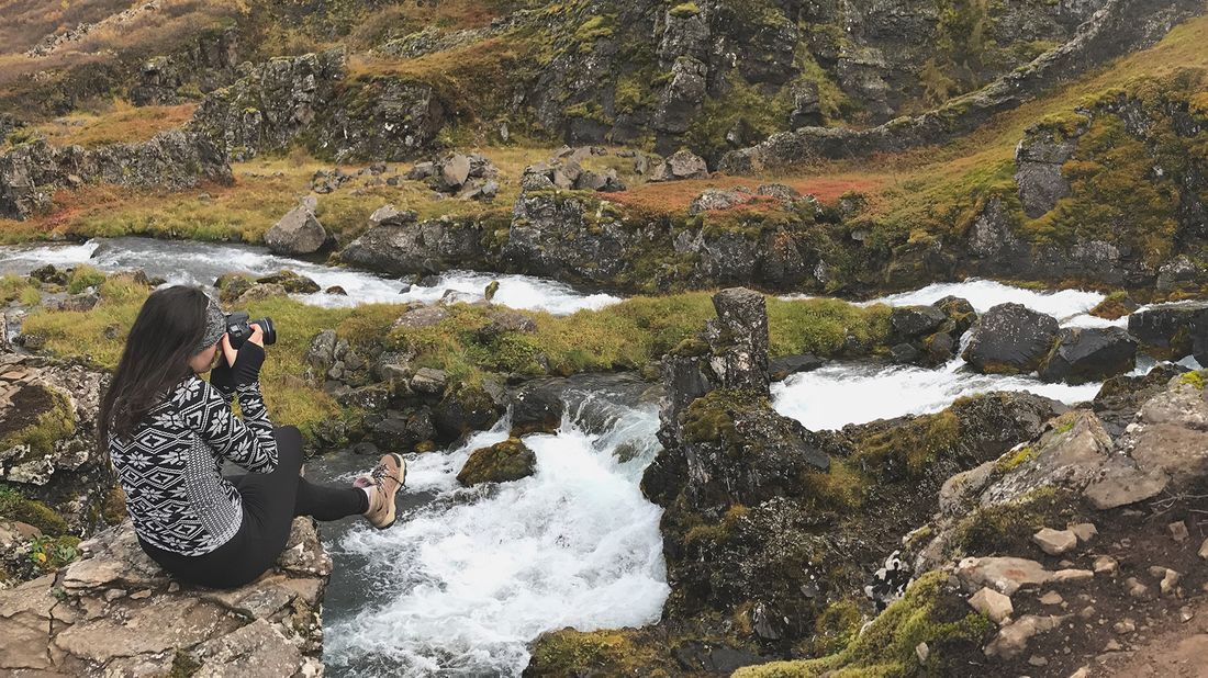 Carrie D'Agostino, founder of Wren & Fable, conducting a photo shoot in Iceland