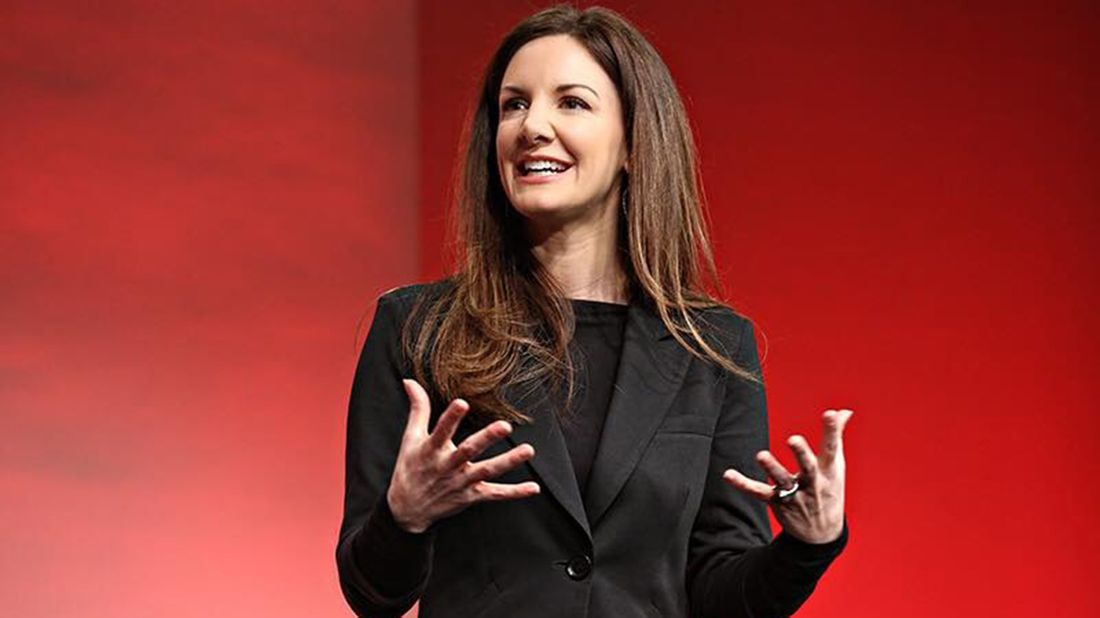 Kat Cole, COO and president of Focus Brands, gives a presentation