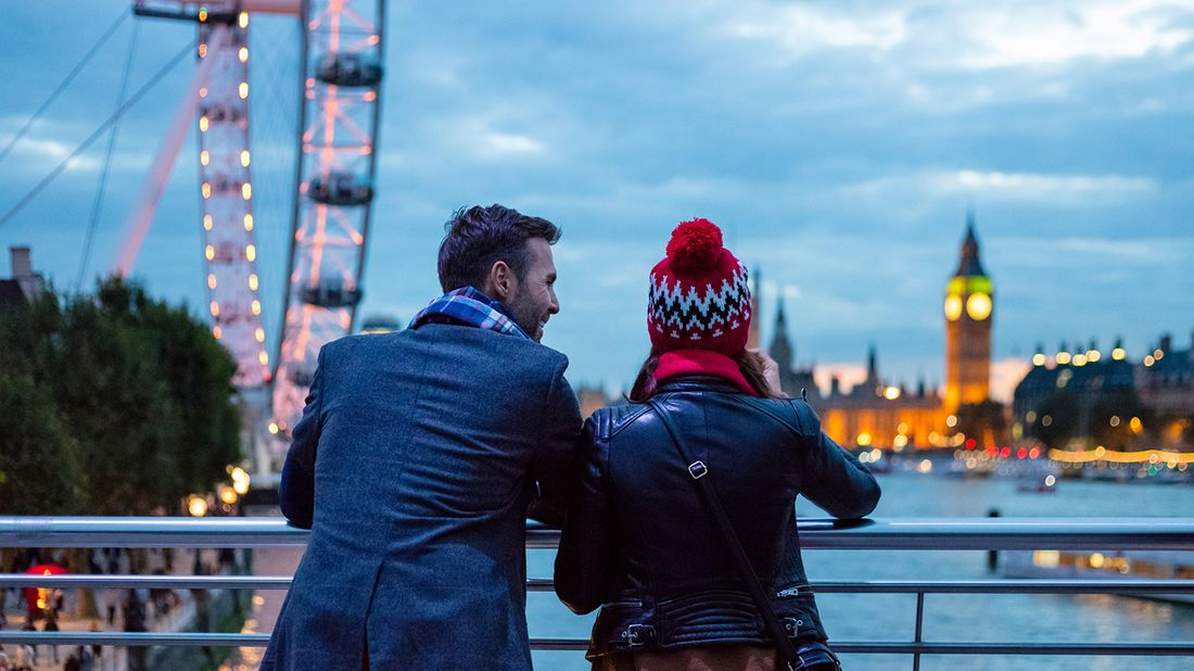 couple admiring London skyline