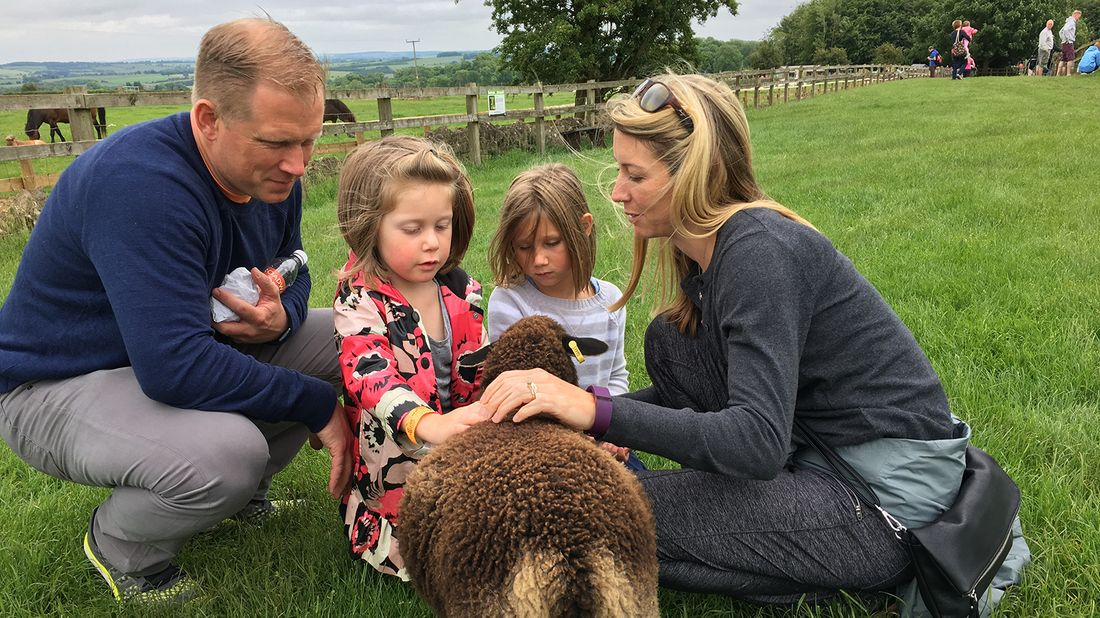 The Lagerborg family on a sheep farm.
