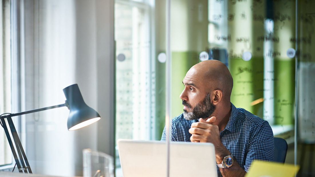 Man takes break from work to think deeply