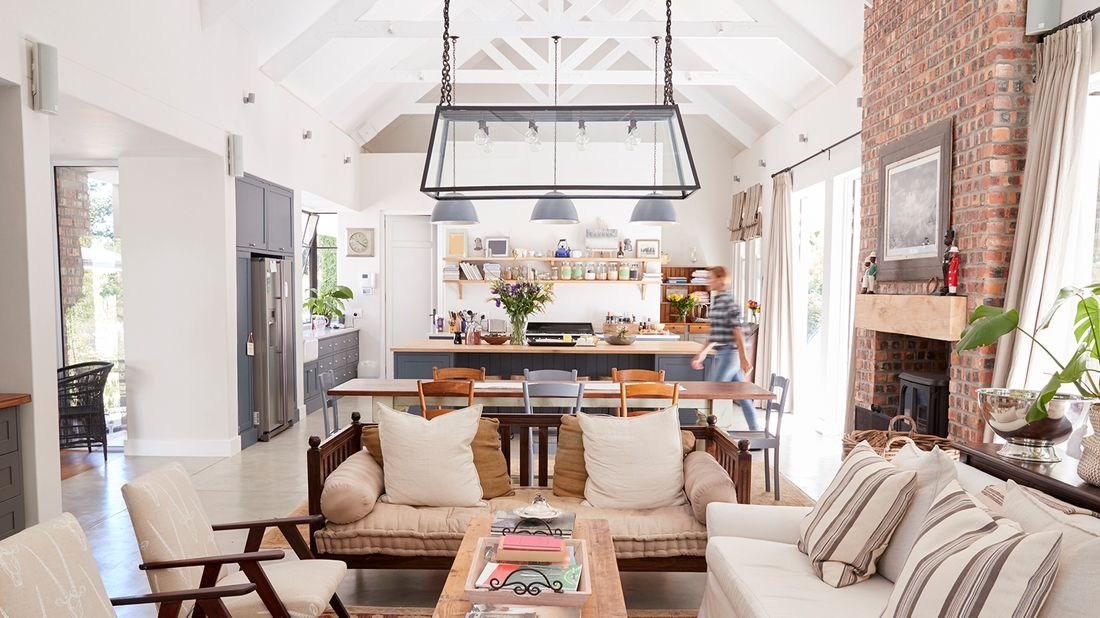 bright and airy kitchen with exposed beams