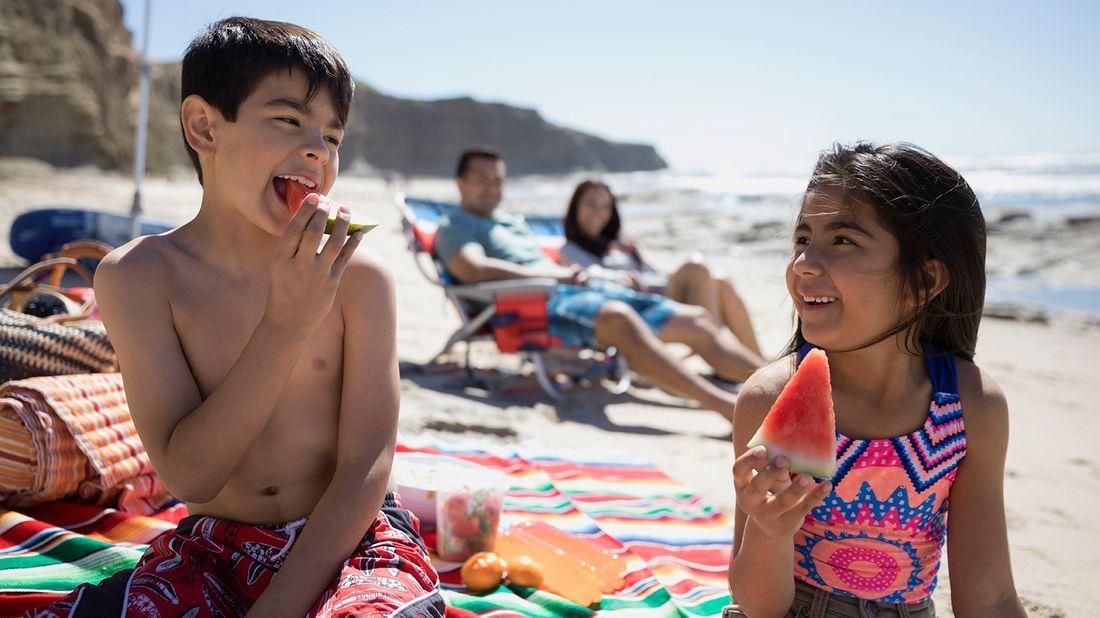 family enjoying last-minute summer vacation