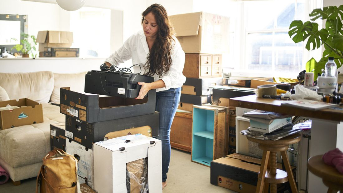A woman decluttering her home