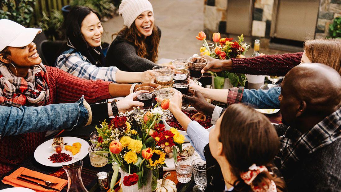 Friendsgiving celebration in backyard