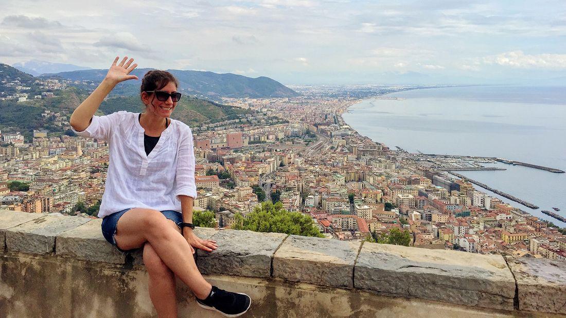 Kristin overlooking Salerno, Italy