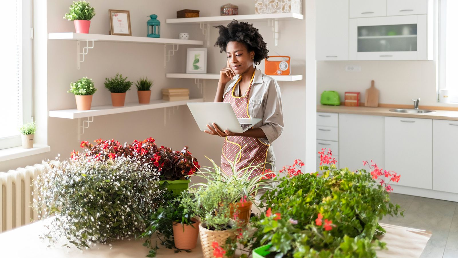 woman working on her gardening side business