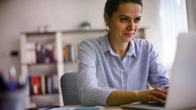 woman working on her finances