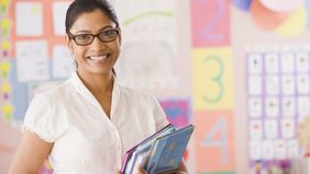 A school teacher thinking about her pension