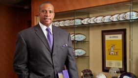Kevin Warren in his NFL office making history and managing the Vikings