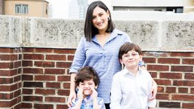Woman with kids successfully returning to work after maternity leave