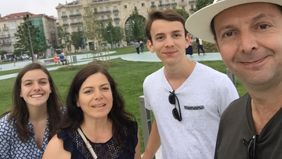 Roberto Espinosa with his family in Santander, Spain.