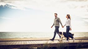 couple walking on boardwalk with dog