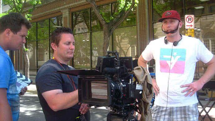 Image of Adam White directing his movie