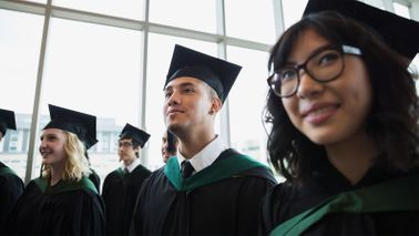 Group of college grads considering national service jobs