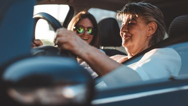Time to give up driving senior mother and daughter in car