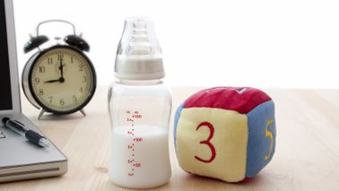 Baby bottle and toy