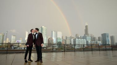 Chase Vedrode and his husband, Jason, on their wedding day.