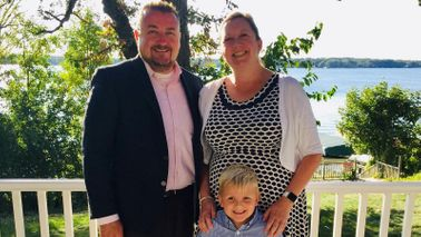 Mindy Wilke with her husband and son.