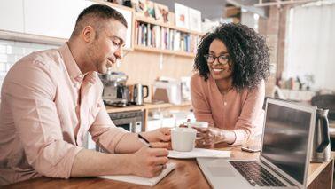 couple working on finances