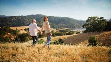 couple walking in field holding hands