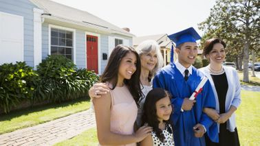 family getting ready for college graduation