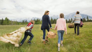 family having picnic to save money