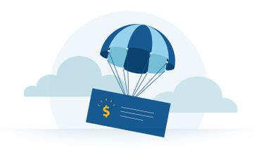 Illustration of a paycheck with a parachute attached.