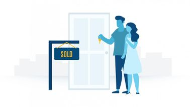 Illustration of a couple with keys outside a door after reading Northwestern Mutual's Complete Guide to Buying a Home