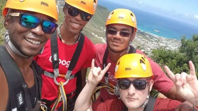 DeAndre and friends about to go ziplining in St. Maarten.