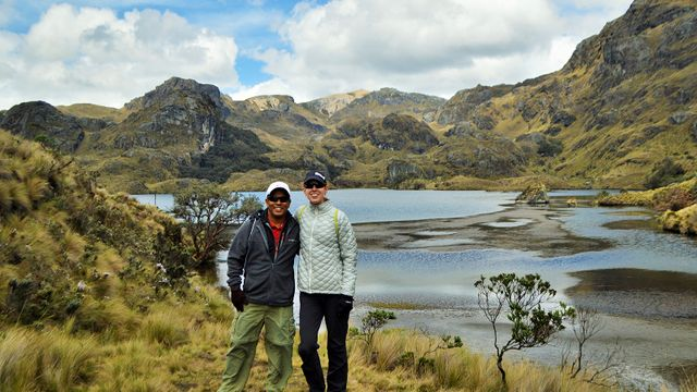 Stephanie Montague and husband, Michiyo, in Cajas National Park in Ecuador.