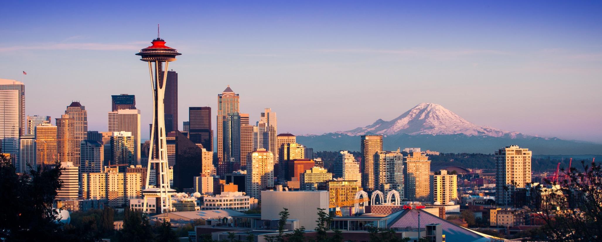 Seattle space needle city skyline