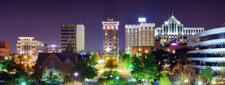 Greenville city lights at night